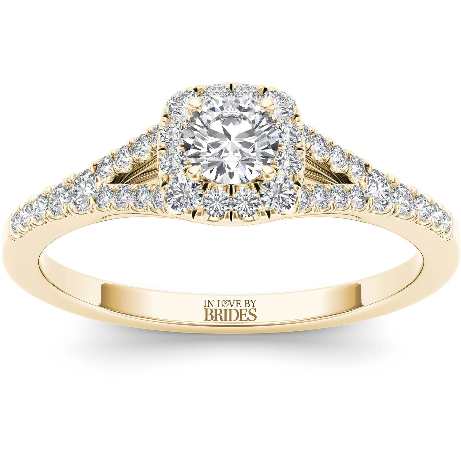 IN LOVE BY BRIDES 3/8 Carat T.W. Certified Diamond Cushion Halo 14kt Yellow Gold Engagement Ring
