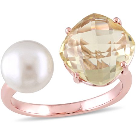 - Tangelo 8-8.5mm White Round Freshwater Cultured Pearl and 3/4 Carat T.G.W. Lemon Quartz Rose Rhodium-Plated Sterling Silver Fashion Ring