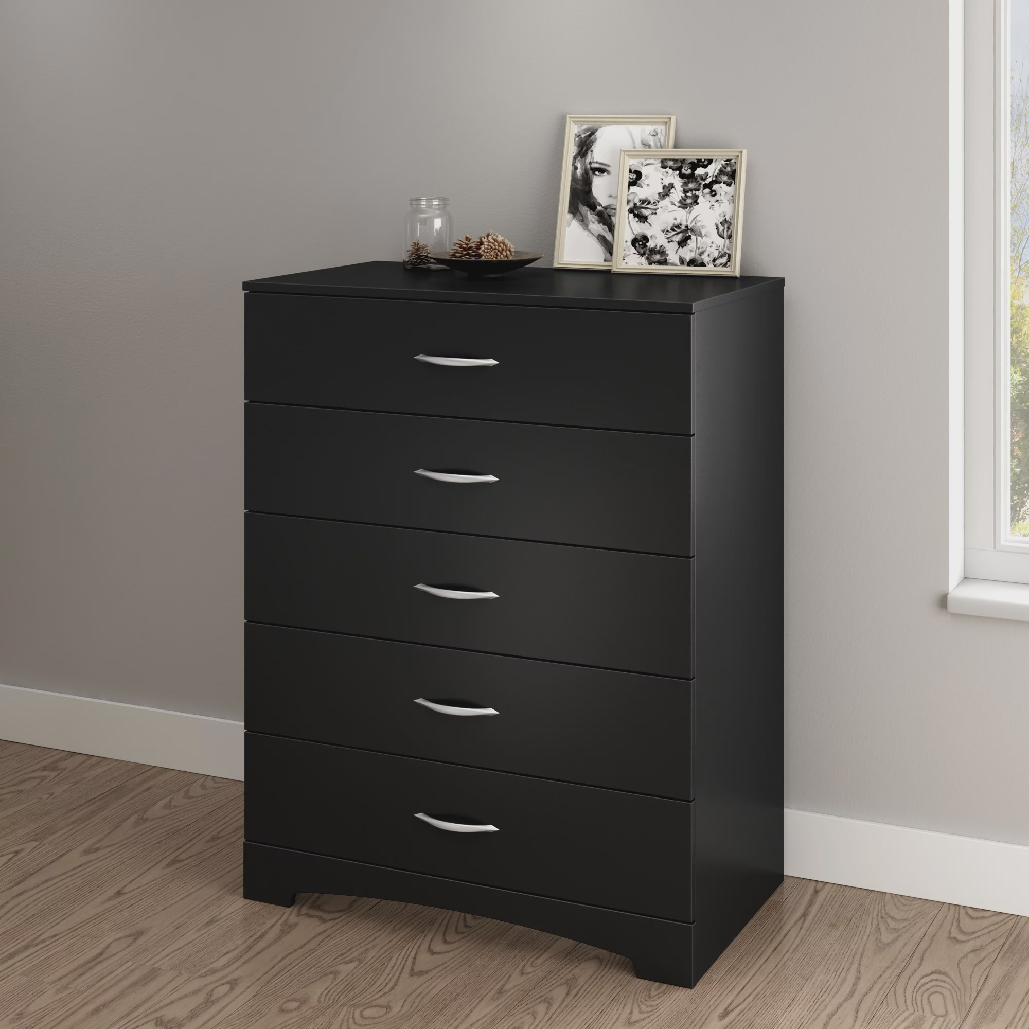 Better Home Products Chest 5 Drawers Black