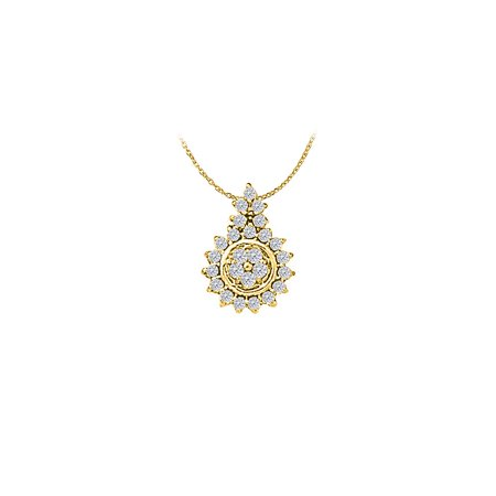 Pretty Cubic Zirconia Flower Pendant in 18K Yellow Gold Vermeil with Free 16 Inch Chain - image 2 de 2