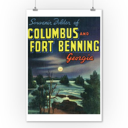 Georgia - Large Letters; Columbus and Fort Benning (9x12 Art Print, Wall Decor Travel Poster) ()
