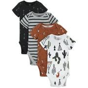 Modern Moments by Gerber Organic Baby Boys Bodysuits, 4 Pack Newborn-12 Months