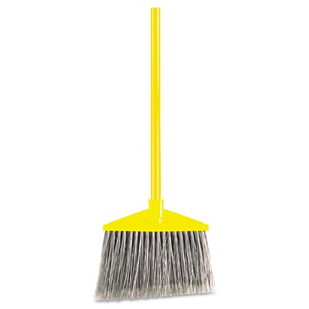 Rubbermaid Commercial Angled Large Broom  Poly Bristles  46 7 8  Metal Handle  Yellow Gray