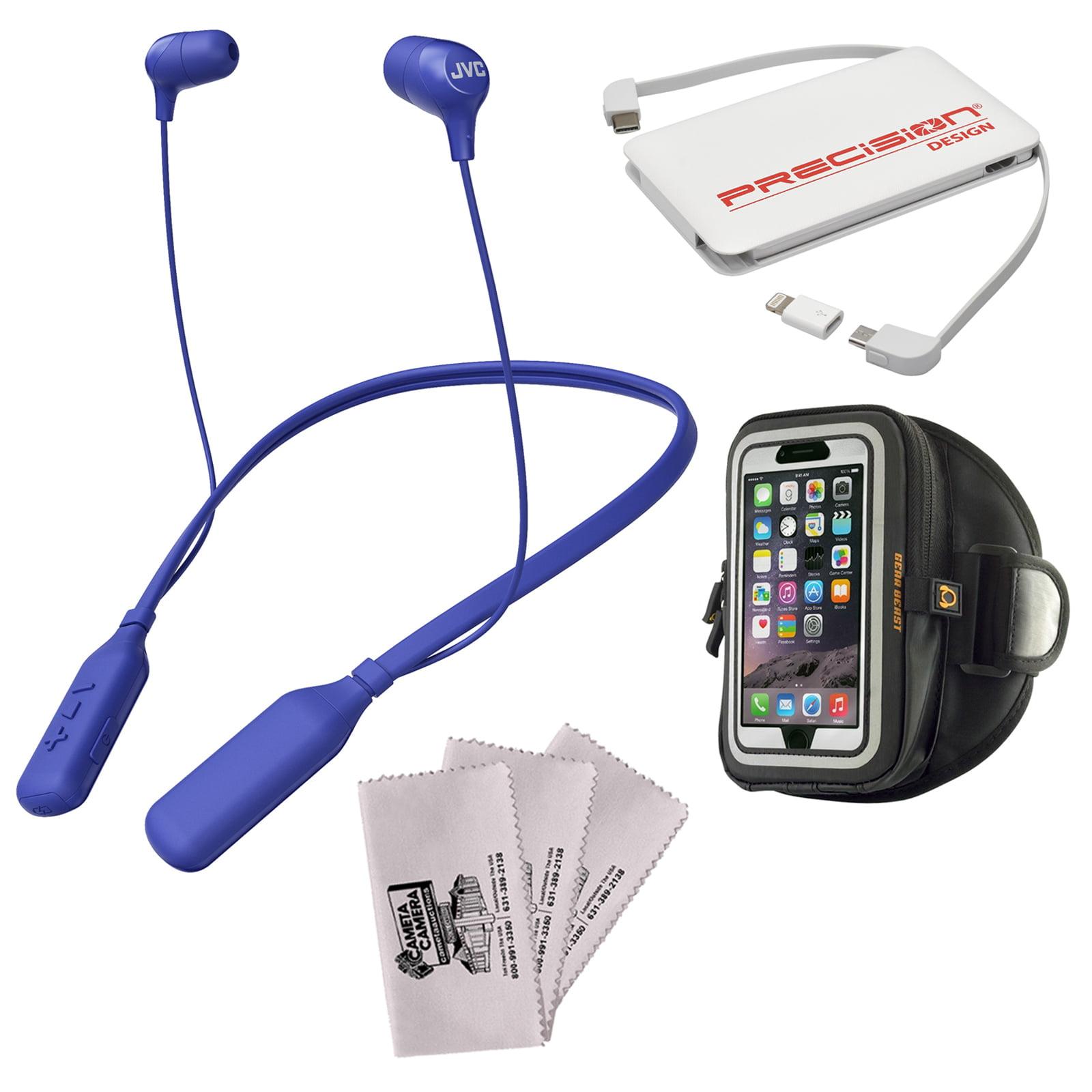 JVC HA-FX39BT MARSHMALLOW Bluetooth Inner Ear Headphones (White) + Power Bank + Smartphone Sport Armband + Kit