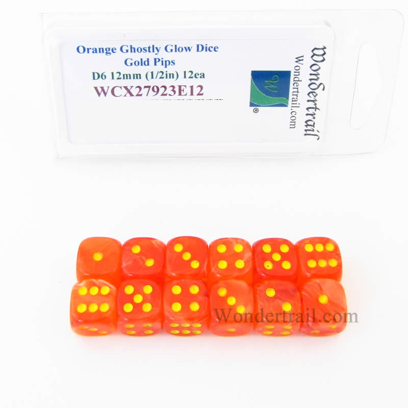 Orange Ghostly Glow Dice with Gold Pips 12mm (1/2in) D6 Set of 12 Wondertrail