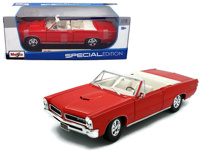 1965 Pontiac GTO Convertible Red 1 18 Diecast Model Car by Maisto by