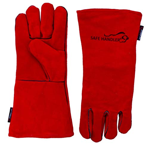 "SAFE HANDLER Deluxe 14"" Welding Gloves with Reinforced Padding 