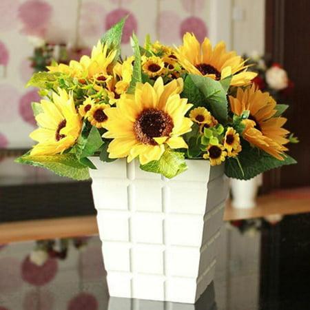 7 Heads Fake Sunflower Artificial Silk Flower Bouquet Home Wedding Party Banquet Floral Decor