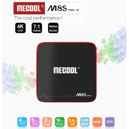 Lan Retail Box (Mecool M8S PRO W S905W 2GB RAM 16GB ROM Android 7.1 2.4G WiFi 100M LAN 4K HDR10 H.265 HEVC VP9 Android TV Box Mini)
