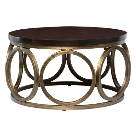 Kosas Home Gemma 32-inch Wood Round Coffee Table (Round And Bown)