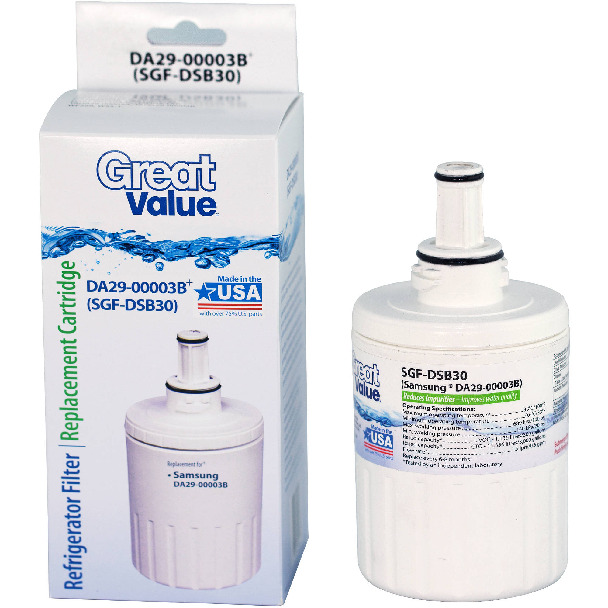 Great Value Refrigerator Filter Replacement Cartridge, DA29-00003B