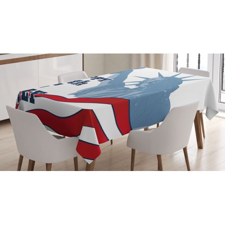 4th Of July Decor Tablecloth Abstract Usa Flag With Digital