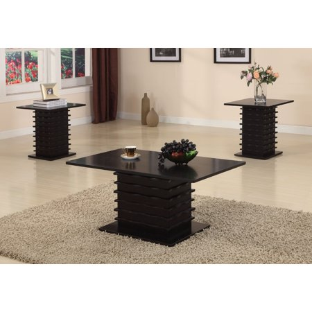 Brooklyn Coffee Table Set - Leina 3 Piece Black Wood Occasional Cocktail Coffee & 2 End Tables Set (Wave Design)