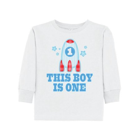 1st Birthday Boy Rocket Ship Toddler Long Sleeve T Shirt