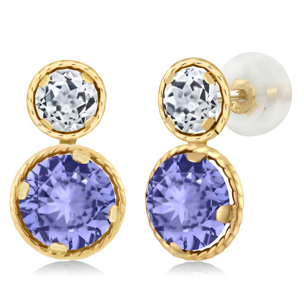 2.46 Ct Round Blue Tanzanite White Topaz 14K Yellow Gold Earrings by