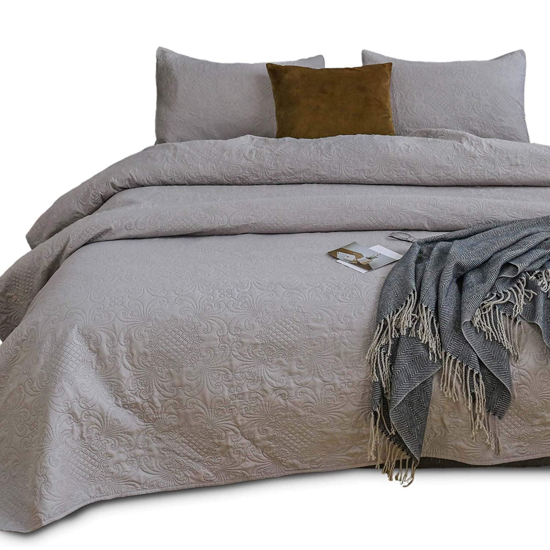 Kasentex Coverlet Quilt Set Pre Washed Luxury Microfiber Soft Warm Bedding Solid Colors Bedspread Contemporary Floral Design Oversized King 2 King Shams Taupe Grey Walmart Com Walmart Com