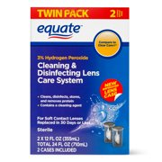 Equate Contact Lens Solution Cleaning & Disenfecting Lens Care System, 12 fl oz , 2 Pk
