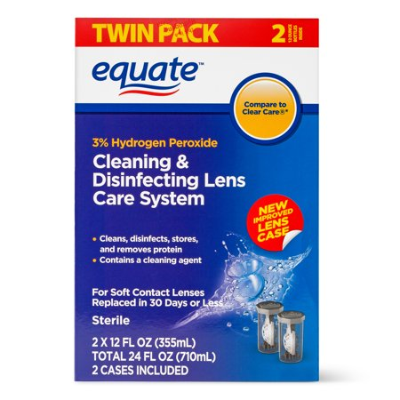 Equate Contact Lens Solution Cleaning & Disenfecting Lens Care System, 12 fl oz , 2 Pk (Contact Lenses Case Clean)