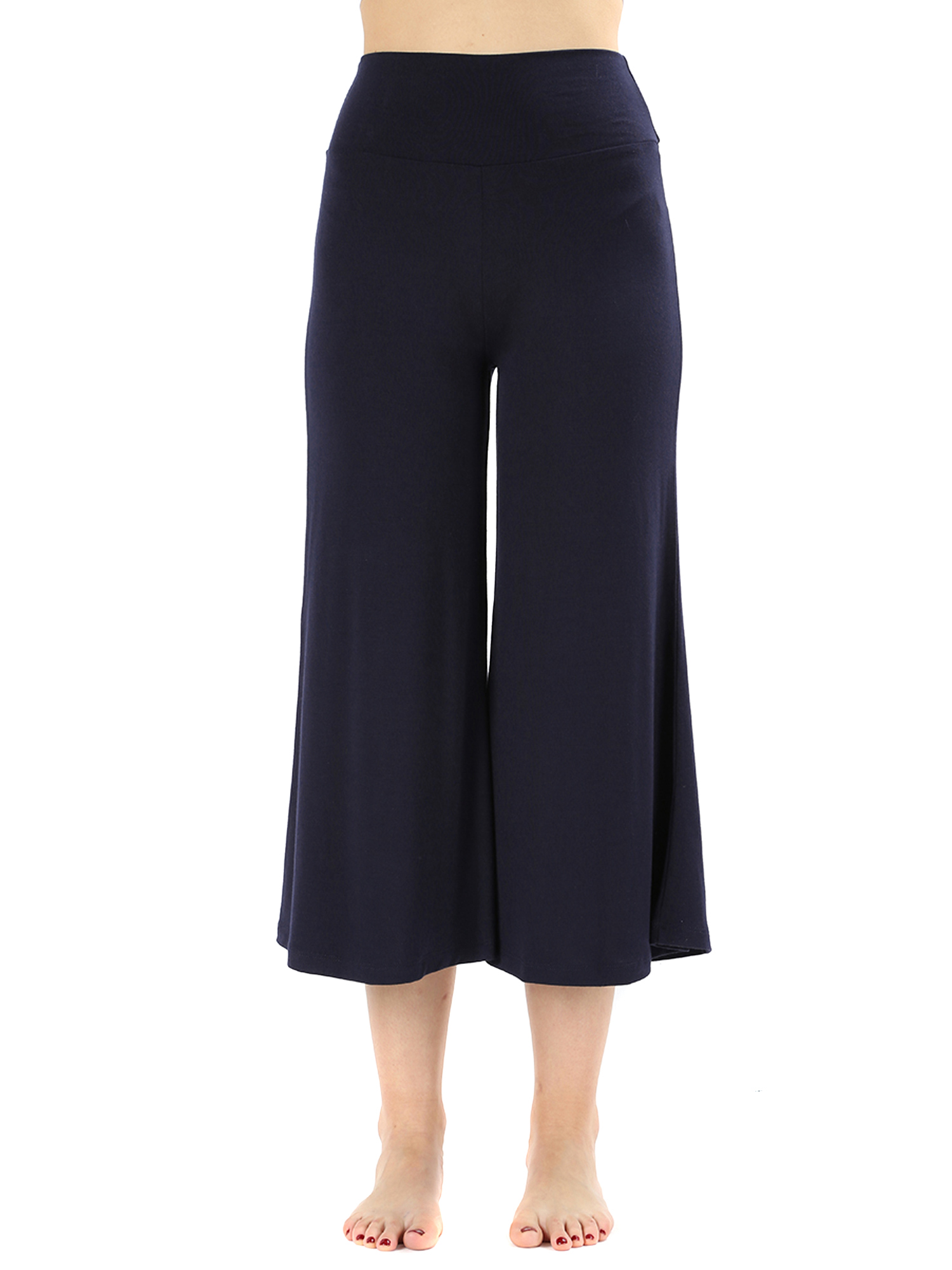 Womens Knit Capri Culottes Gaucho Wide Leg Pants