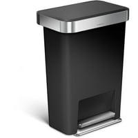 simplehuman 45 Liter / 12 Gallon Rectangular Step Trash Can With Liner Pocket, Black Plastic