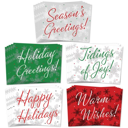 50 Christmas Greeting Cards, 5 Assorted Winter Calligraphy Designs for Happy Holiday Greetings, Envelopes Included, Elegant Mixed Boxed Notecard Box Variety Pack, Excellent Value by Digibuddha VHA0002 ()