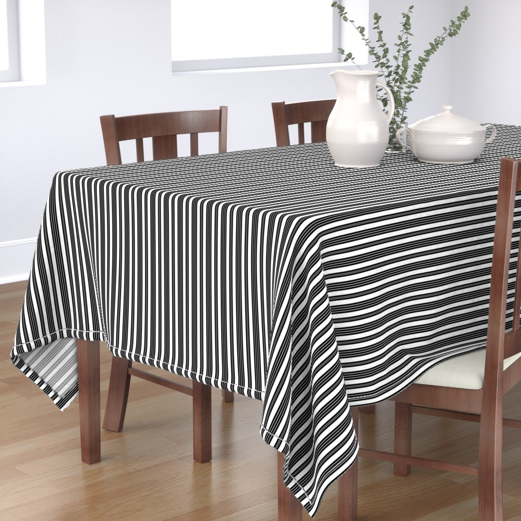 Tablecloth French Ticking Stripe Pinstripe Black And White Classic Cotton Sateen Walmart Com Walmart Com
