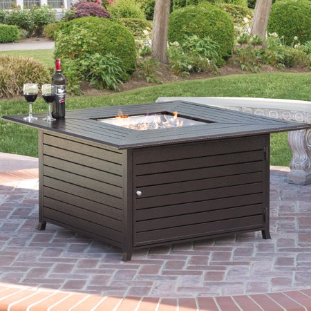 Best Choice Products 45x45in Extruded Aluminum Square Gas Fire Pit Table for Outdoor Patio w/ Weather Cover, Lid, Propane Tank Storage, Glass (Patio Table Fire Pit)