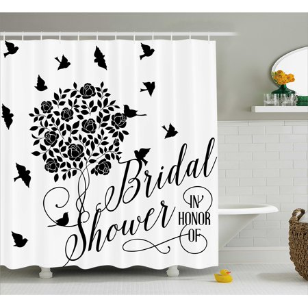 Bridal Shower Decorations Shower Curtain, Flowers Roses Leaves Swirls Birds Bride Party Theme Artwork, Fabric Bathroom Set with Hooks, 69W X 70L Inches, Black and White, by Ambesonne