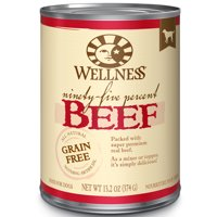 (12 Pack) Wellness 95% Natural Wet Grain Free Canned Dog Food, 13.2-Ounce Cans, Various Flavors