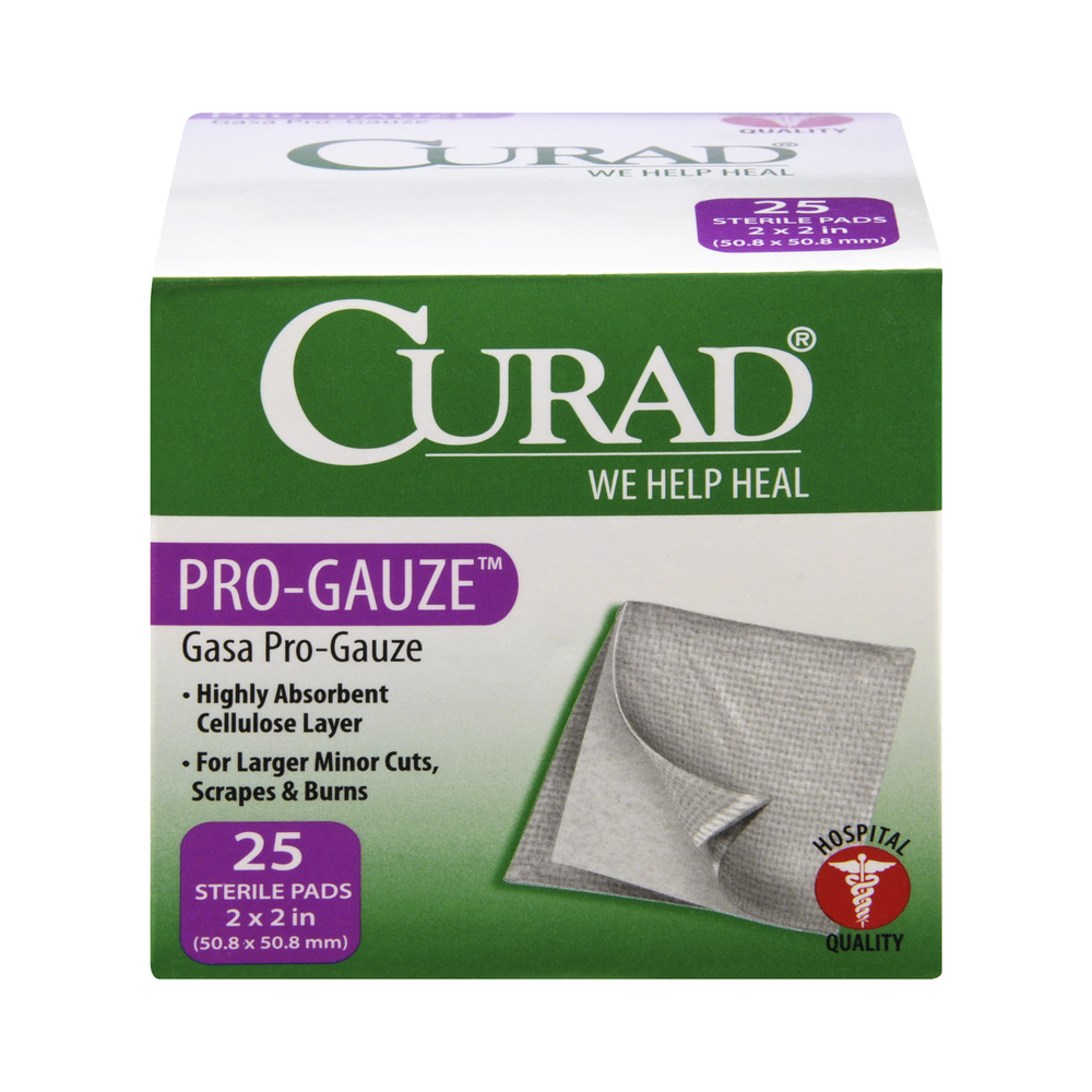 (3 pack) Curad Small Gauze Pads, 25 count