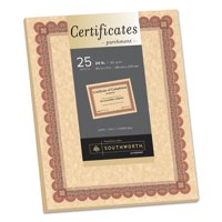 Southworth Parchment Certificates, Copper w/Red & Brown Border, 8 1/2 x 11, 25/Pack -SOUCT5R