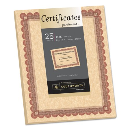Southworth Parchment Certificates, Copper w/Red & Brown Border, 8 1/2 x 11, 25/Pack (Southworth Award)