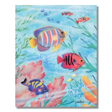 Tropical Striped Ocean Fish in Coral Reef Pastel Wall Picture 8x10 Art - Carol Stripes Print