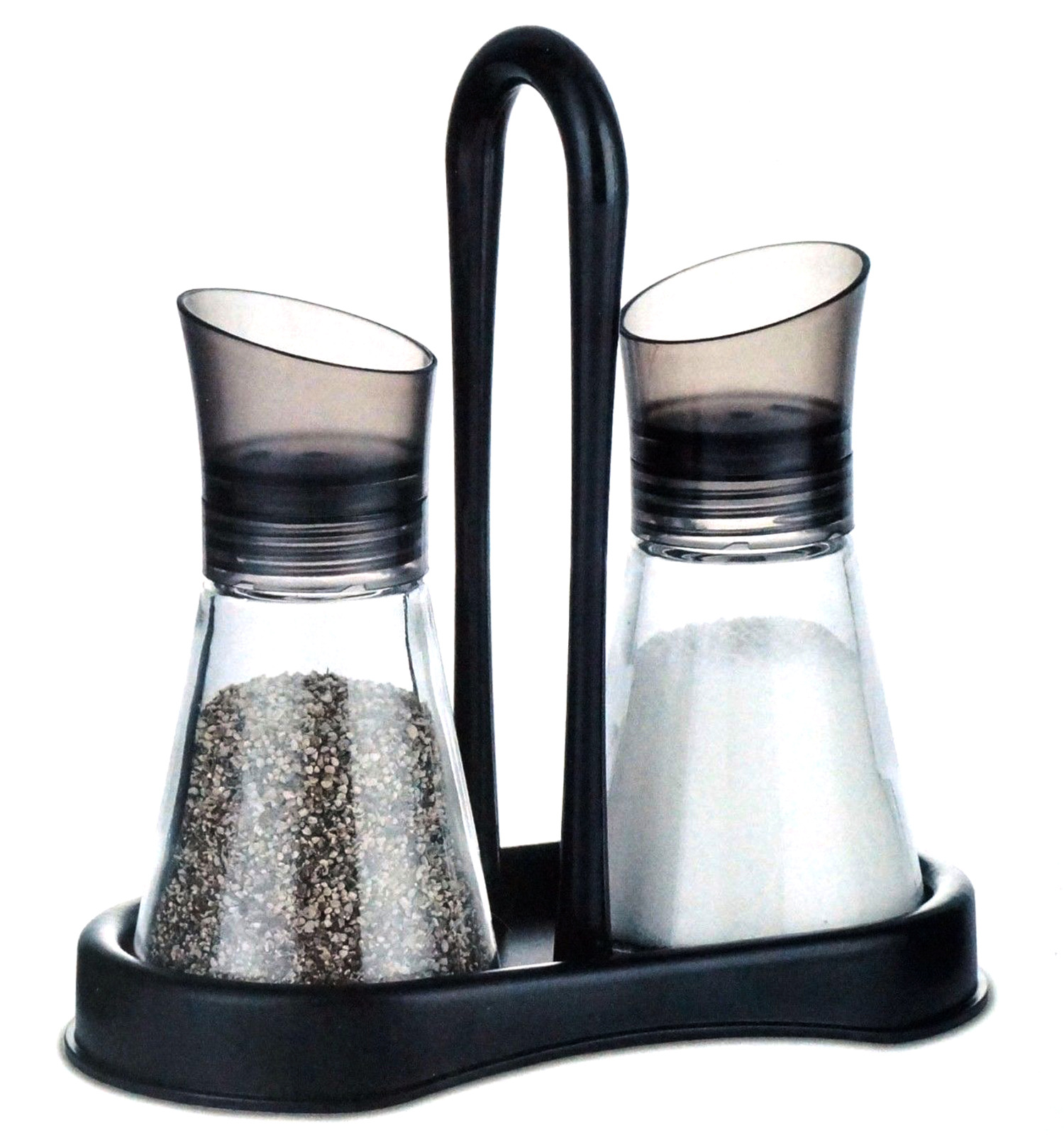 Salt and Pepper Glass Shakers ABS Plastic Lid and Stand - Sugar / Spice Shaker Adjustable Holes