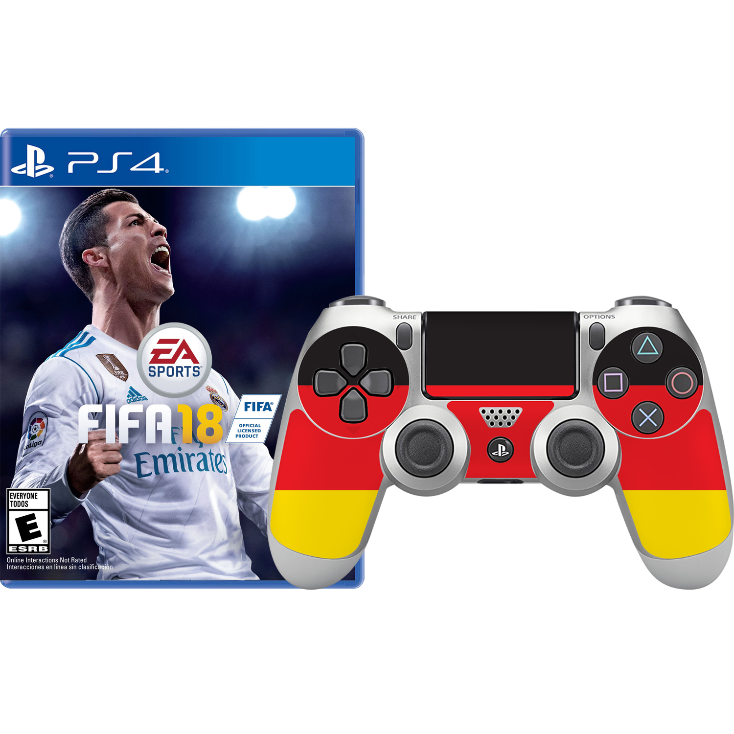 FIFA 18 and Germany Skin Controller, Electronic Arts, PlayStation 4, 696055184934
