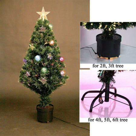 6ft pre lit fibre optic christmas tree prelit stars baubles decorations 180cm