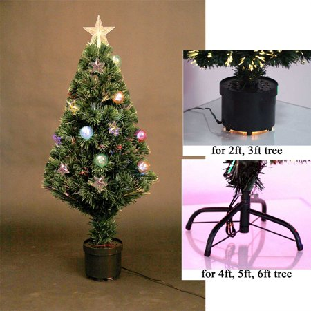 2ft Pre Lit Fibre Optic Christmas Tree PreLit Stars and Baubles Decorations -