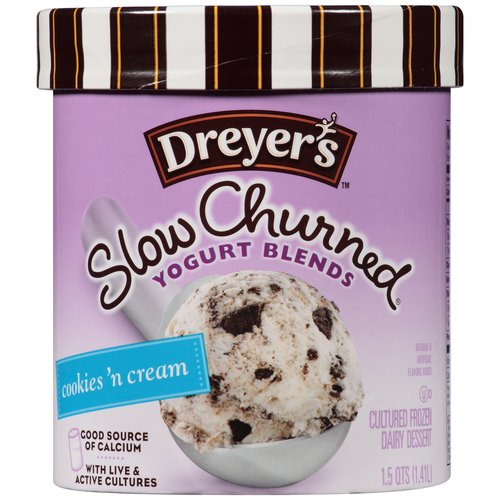 Dreyer's Slow Churned Yogurt Blends Cookies 'n Cream, 1.5 qt