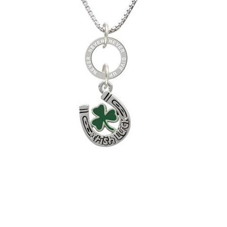 Irish Luck Horseshoe With Shamrock Never Give Up Eternity Ring