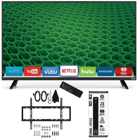 Vizio D50-D1 – D-Series 50-Inch Full Array LED Smart TV Slim Flat Wall Mount Bundle includes TV, Slim Flat Wall Mount Ultimate Kit and Power Strip with Dual USB Ports