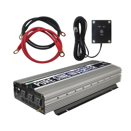 Power TechON 3000W Pure Sine Wave Power Inverter 12V DC to 120V AC with 3 AC Outlets + 1 5V USB Port, 2 Battery Cables, and Remote Switch (6000W Peak)