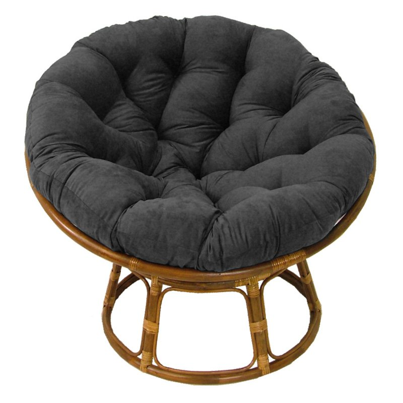 International Caravan Papasan Chair With Solid Micro Suede Cushion