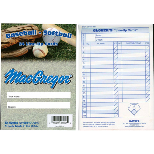 Glovers Baseball/Softball Line-Up Card Booklet