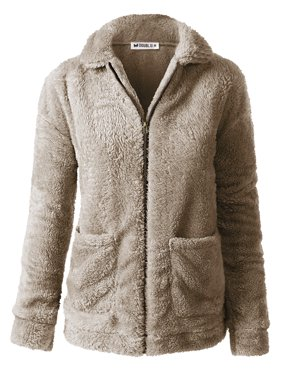 Doublju Women's Zip-Up Soft and Warm Sherpa Fur Jacket with Pocket (Plus Size Available)