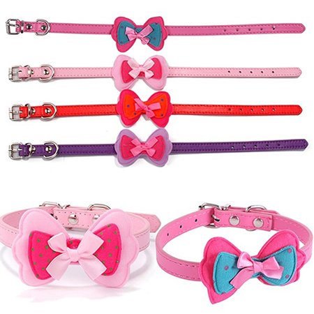 Girl12Queen Cat Dog Cute Polka Dot Bowknot Faux Leather Pet Choker Collar Pet - Cat Choker