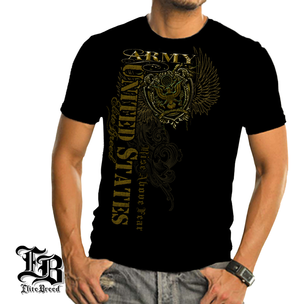Elite Breed Army Rise Above Fear T-shirt by , Black, XL