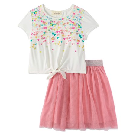 Girls' Ombre Sequin Hearts Tee And Tutu Skirt 2-Piece Outfit Set