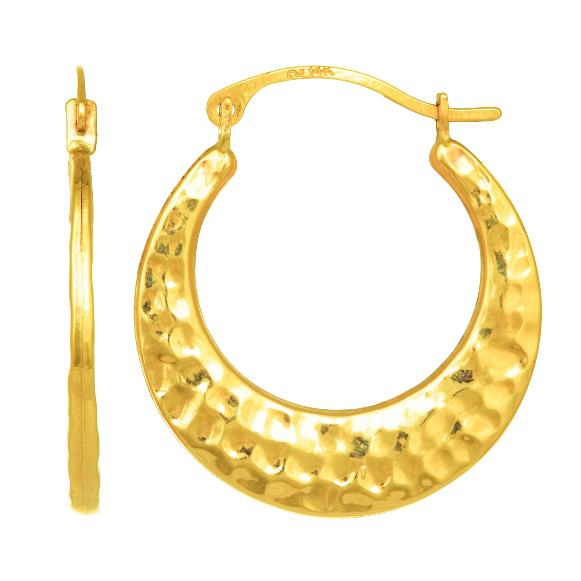 10K Yellow Gold Shiny Heart Shape Fancy Hoop Earrings with Hinged by IcedTime