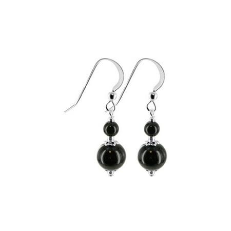 Gem Avenue 925 Sterling Silver Black Onyx Beads Handmade Drop Earrings](Black Beaded Earrings)