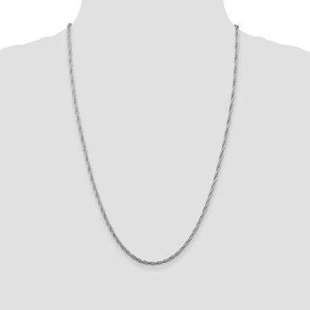 925 Sterling Silver 2.5mm Loose Rope Chain 24 Inch - image 2 de 5